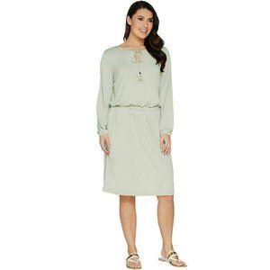 NEW Peasant Stretch Dress with Tassel Medium Sage